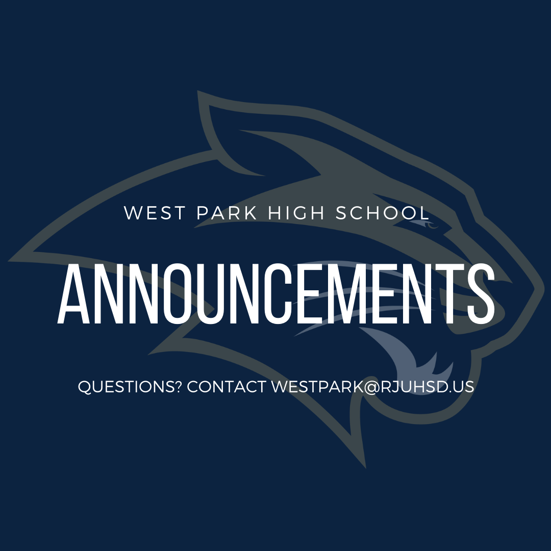 WEST PARK HIGH SCHOOL ANNOUNCEMENTS